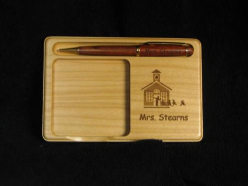 wooden engraved matching pen holder highland il