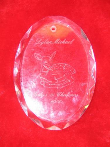 glass plate with engrave of deer highland il