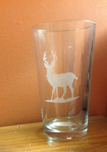 glass engraved with deer highland il